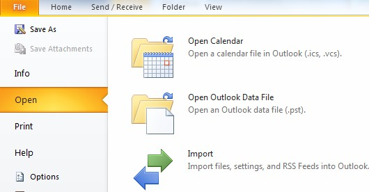 Outlook file import BPOS .pst